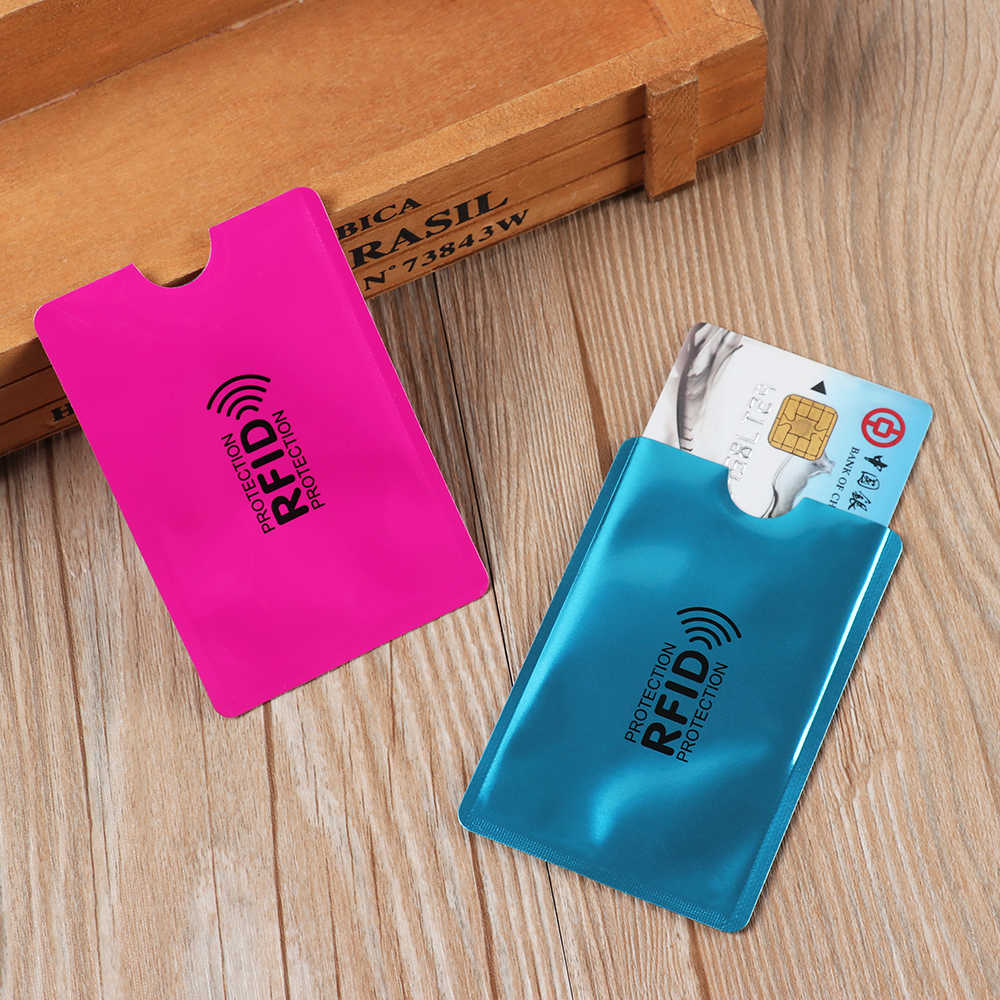 5Pc/Set Metal Smart Anti-theft Credit Card Holder Aluminium Anti Rfid Blocking Reader Lock Card Holder Id Bank Card Case Protect