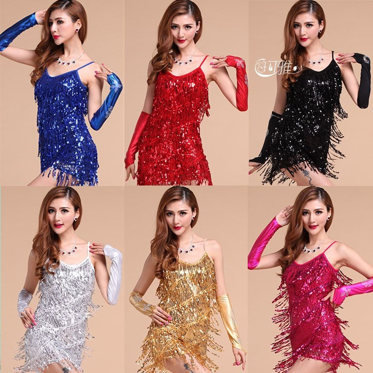 Buy Cheap Latin dance dress performance wear adult tassel sequins clothing customize women ballroom dance dress for latin dancing