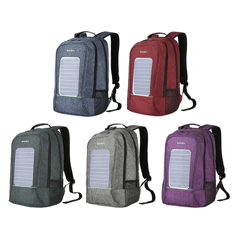 Solar Powered Backpack USB Charging Laptop Bag School Bag for Men Travel Businessl Sport Waterproof