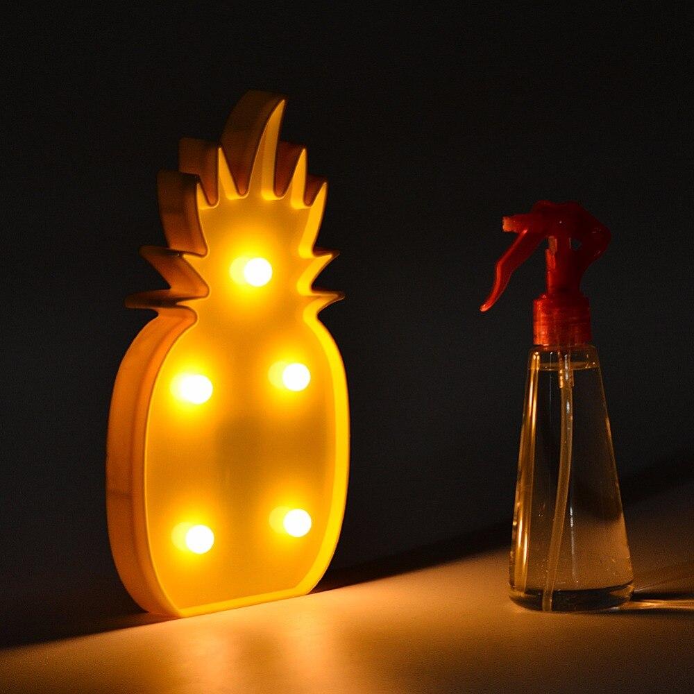 Adeeing 3D LED Flamingo lampa Ananas Kaktus Nattljus Romantisk - Nattlampor - Foto 2