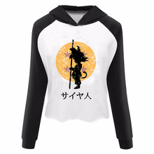 DRAGON BALL Z Women Crop Top Hoodie – Grey Maroon