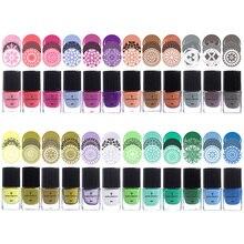 BORN PRETTY Colorful 1Bottle 6ml Nail Stamping Polish Nail Art Stamp Plate Printing Polish Candy Colors Nail Art Varnish