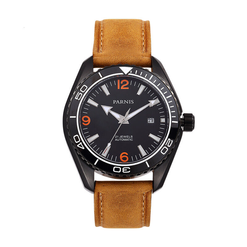 Parnis Racing Seriers Luminous Mens Leather Watchband  Fashion Automatic Mechanical Watch WristwatchParnis Racing Seriers Luminous Mens Leather Watchband  Fashion Automatic Mechanical Watch Wristwatch