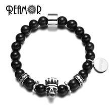 Reamor Natural Blue Starry Sky Sand Stones Stainless Steel Crown Skull King Beads Reamor Logo Charms Stretch Bracelets for Man(China)