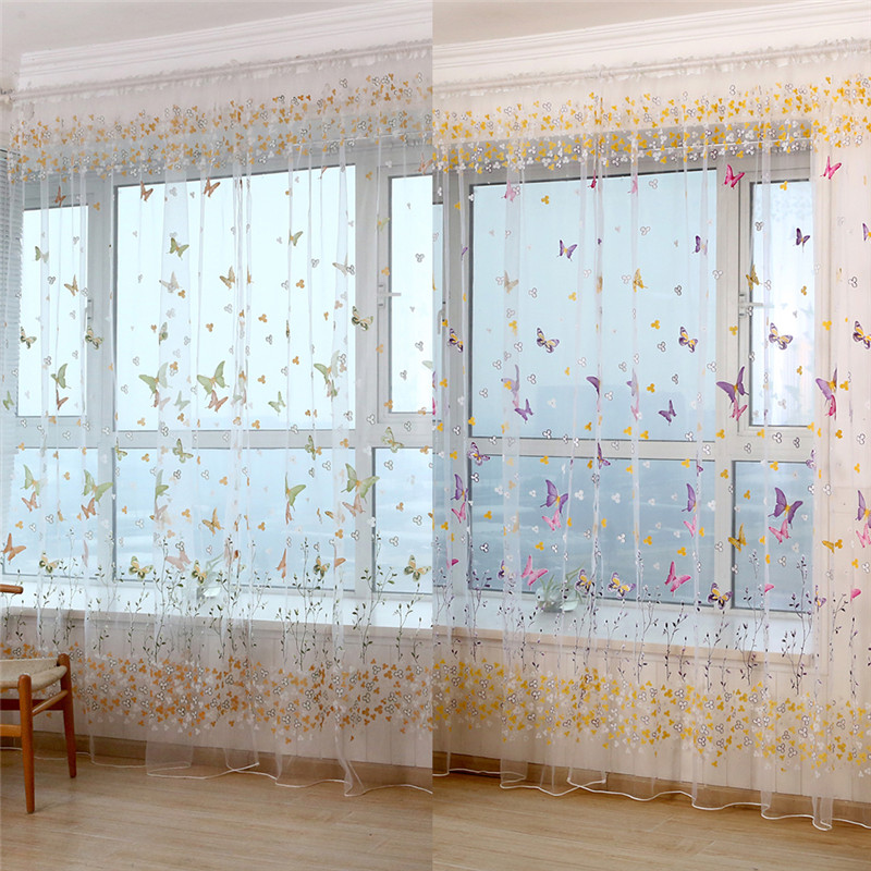20 Best Curtain Ideas For Living Room 2017: 2017 1pcs Butterfly Branches Printed Tulle Curtains For