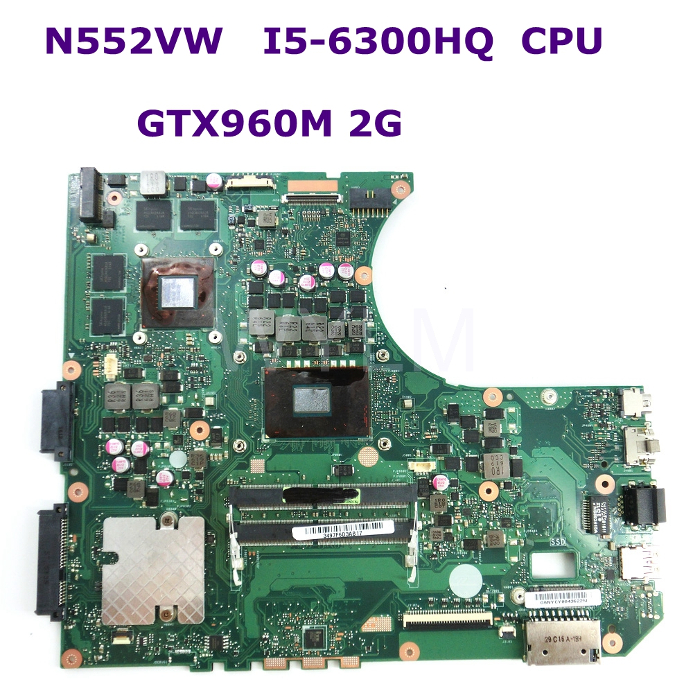 N552VW MB._0M/<font><b>I5</b></font>-<font><b>6300HQ</b></font>/AS GTX960 2GB Mainboard For ASUS N552V N552VW Laptop Motherboard 90NB0AN0-R00050 100% Tested image