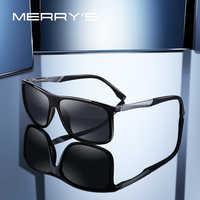 MERRYS DESIGN Men Polarized Square Sunglasses Outdoor Sports Male Eyewear Aviation Aluminum Legs UV400 Protection S8132