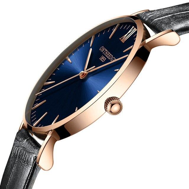 31c460e0a45 ONTHEEDGE Top Marca de Quartzo dos homens Relógio de Pulso de Couro Genuíno  6 MM Ultra