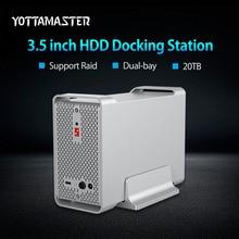 Yottamaster High-end Dual-bay 3.5 inch HDD Docking Station Box USB3.1 Gen2 10Gbps External HDD Enclosure Case Support RAID 20TB