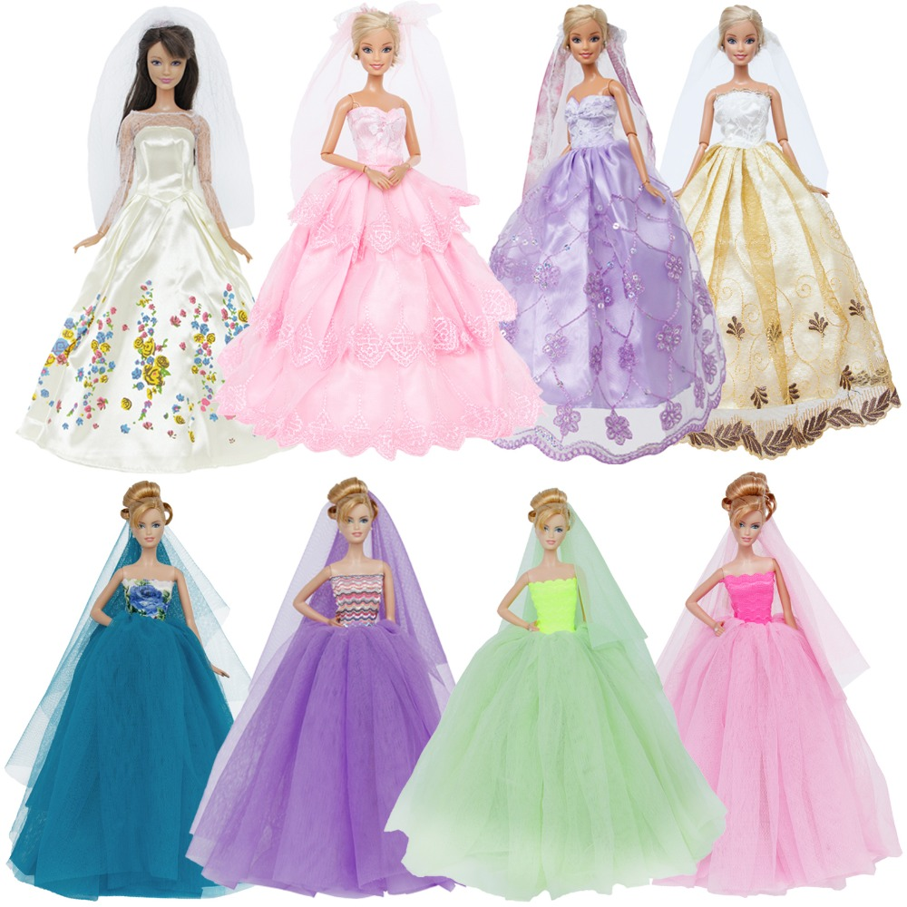 High Quality 1x Wedding Party Dress Lace Gown Evening Party Princess Skirt + 1x Veil Clothes For Barbie Doll Accessories Kid Toy