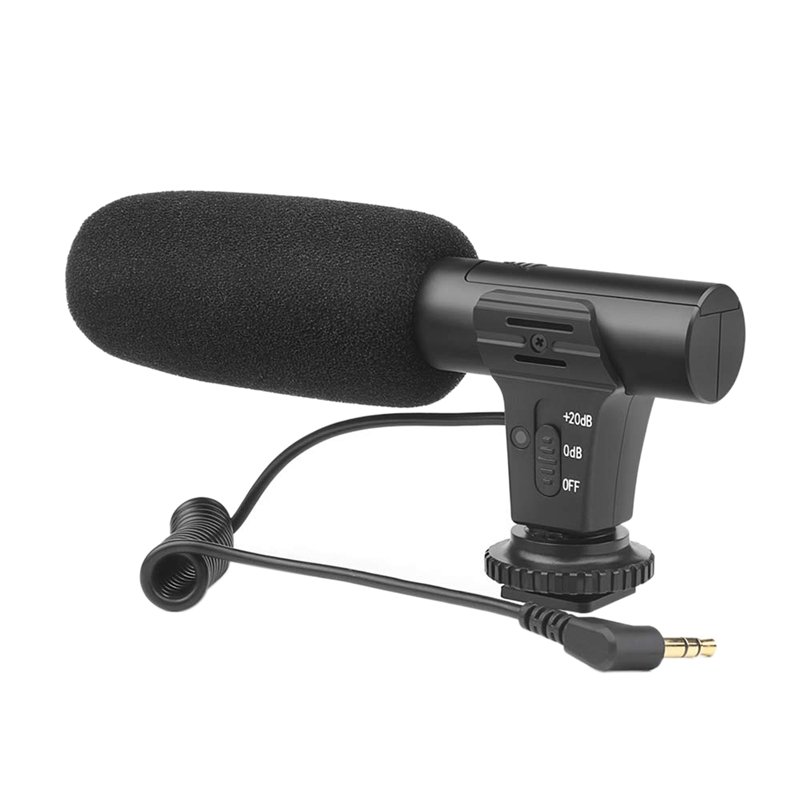 Shoot Xt-451 Portable Condenser Stereo Microphone Mic With 3.5Mm Jack Hot Shoe Mount For Canon Camera Camcorder Dv Smartphone(China)