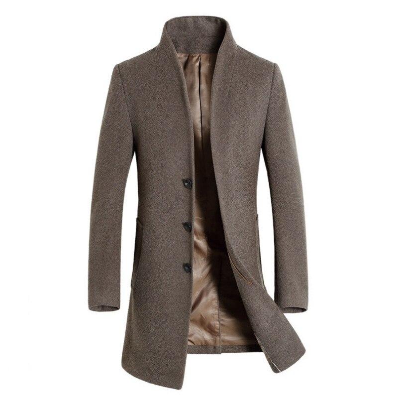 Men's Long Trench Coat 20% Wool Casual Business Stand Collar Woolen Coats Male Slim Windbreaker Coat Jackets Chaqueta De Hombre