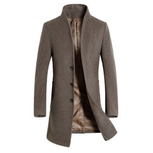 Men's Long Trench Coat 20% Wool Casual Business Stand Collar Woolen Coats Male S