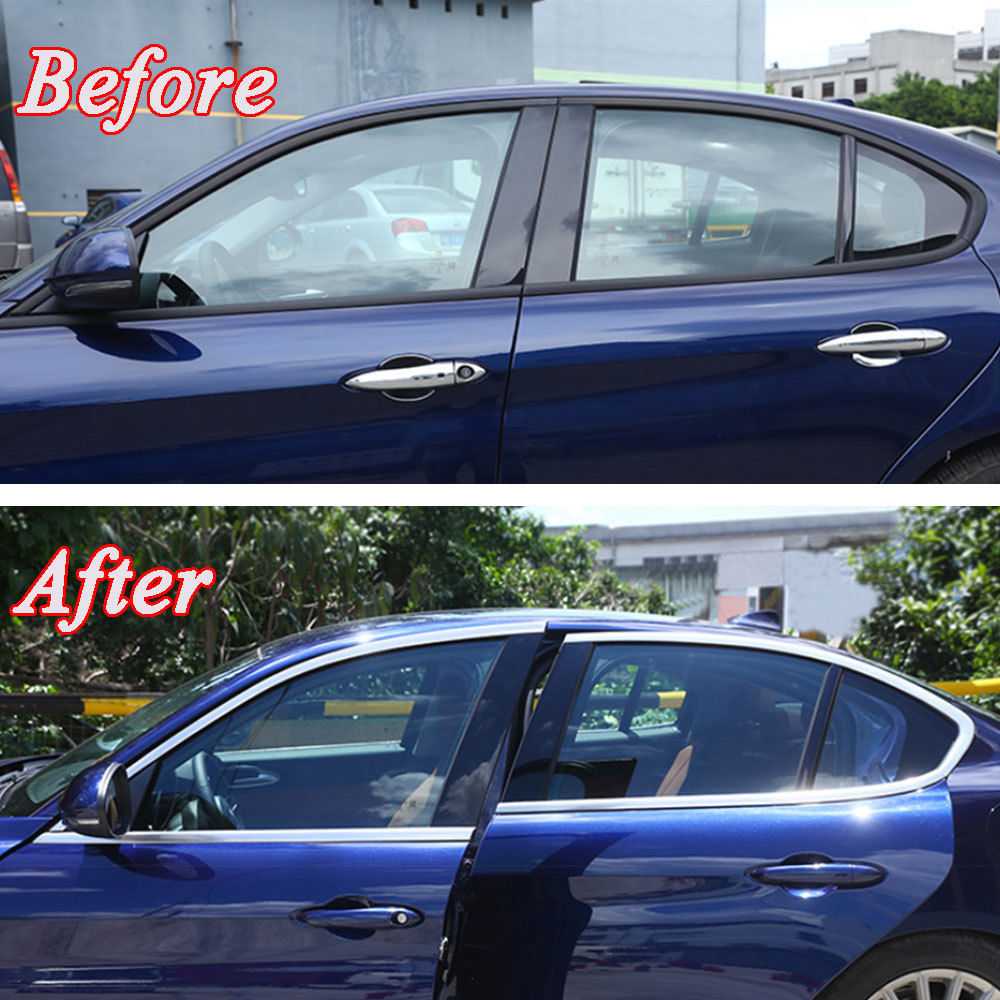 Stainless Car Door Side Window Glass Belt Line Molding Trim Frame Decal Fit for Alfa Romeo Giulia 2017 Car Styling Accessories