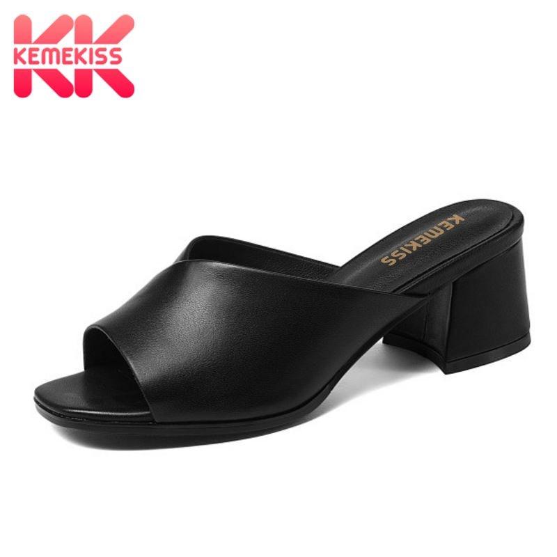 KemeKiss femmes réel en cuir véritable à talons hauts sandales bout ouvert sandales à talons épais chaussures simples d'été femmes chaussures taille 34-41