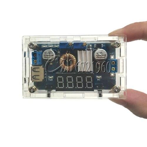Réglable 5A CC/CV Puissance de Charge Step-down Module LED Pilote USB Voltmètre + Cas