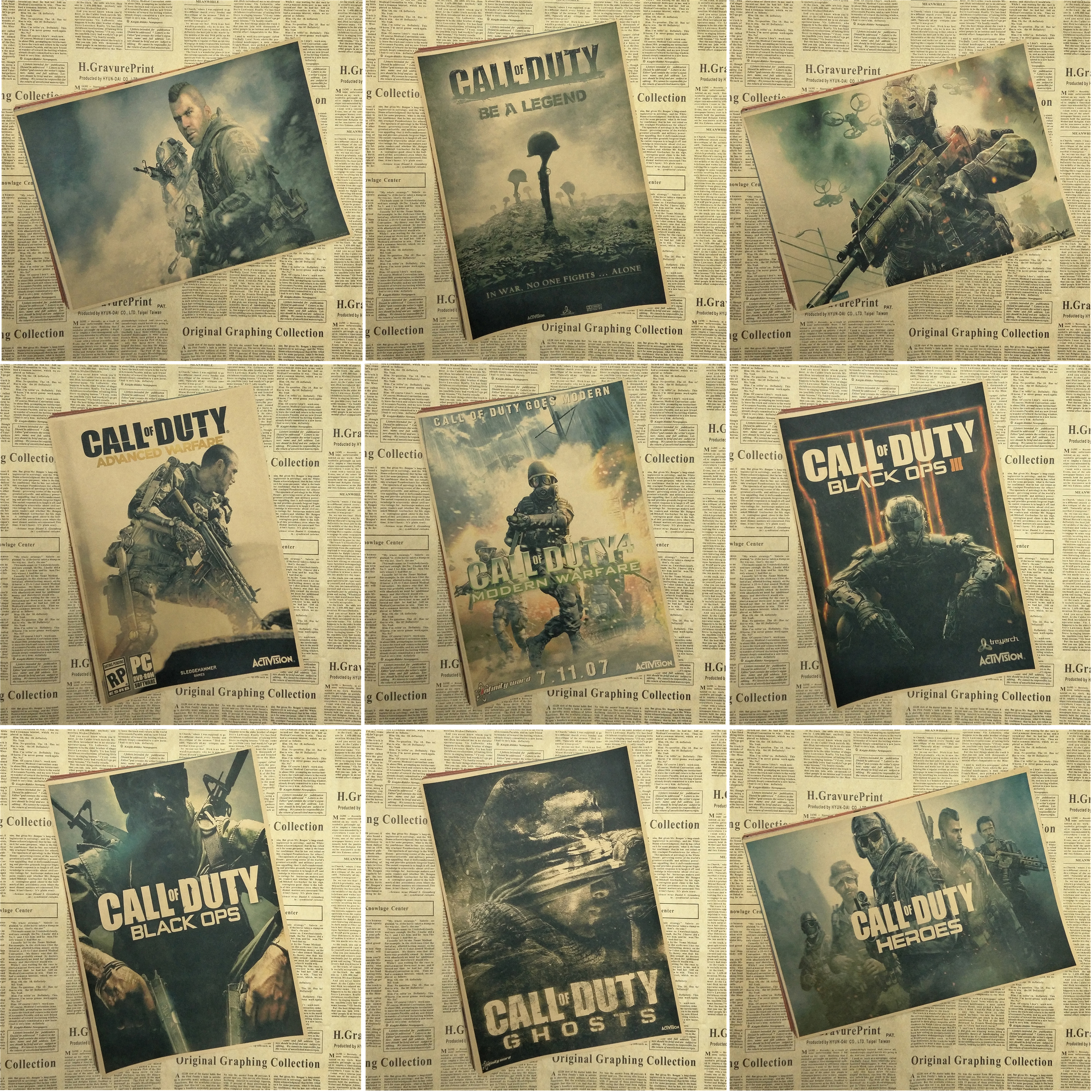 Call of Duty Infinite Warfare Game Kraft Poster Bar Cafe Living Room Dining room Wall Decorative Paintings