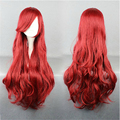 High Quality Princess Ariel Curly Wave Red Full Lace Cosplay Wigs Little Mermaid Ariel Synthetic Natural Hair Wig Free Shipping