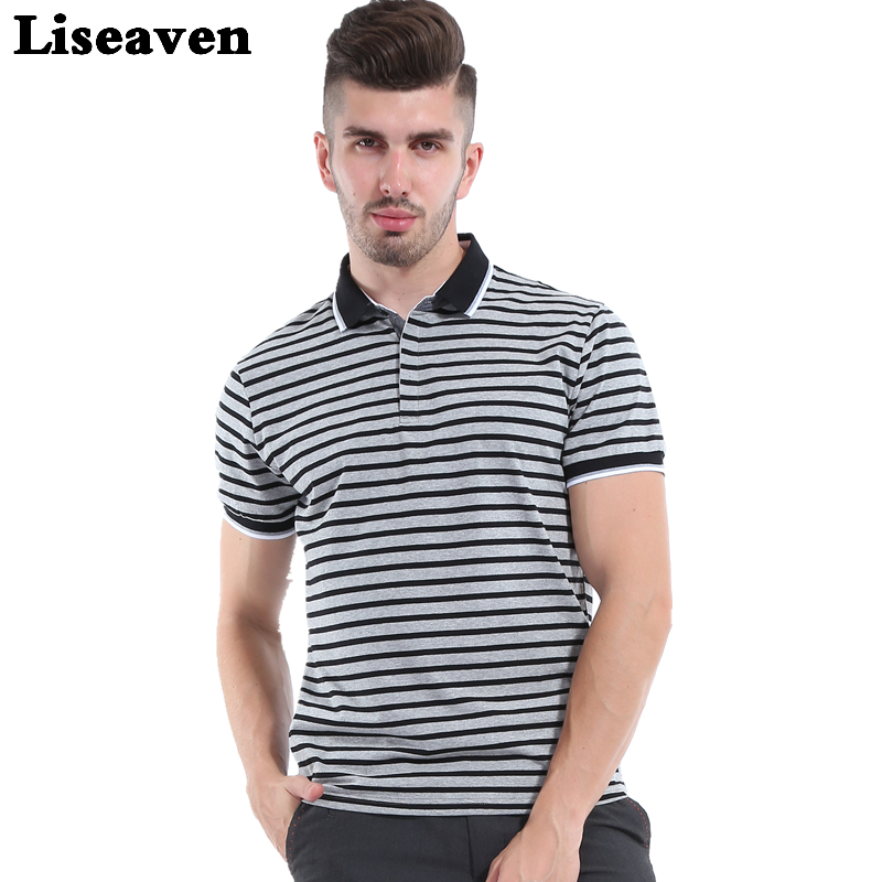 Liseaven 2017 Men Striped   polo   shirt solid Tops Tees Shirt Summer Casual Clothing Cool Tee Camisa   Polo   Masculina