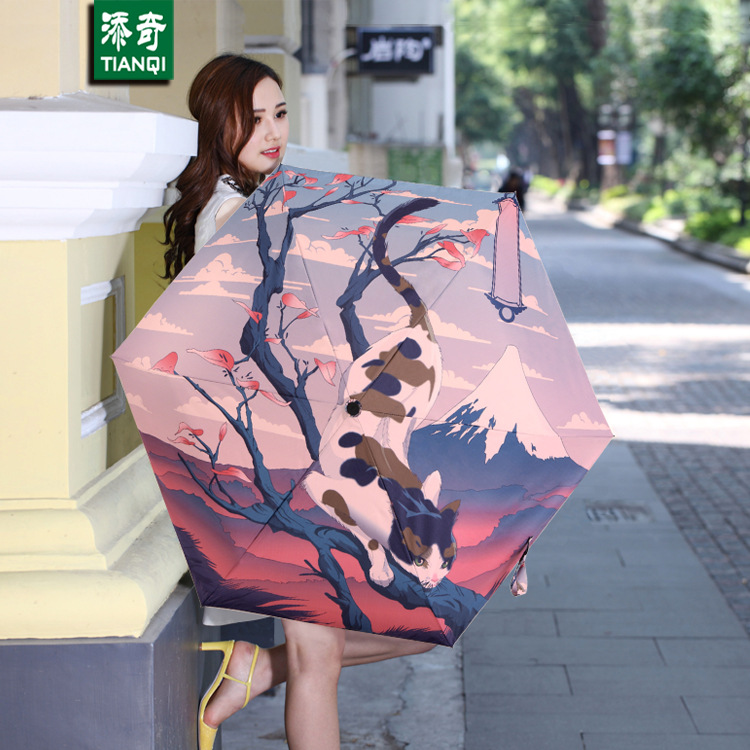 96 CM * 8 ribs 3D Printing Japanese Mount Fuji and Cat Umbrella ...