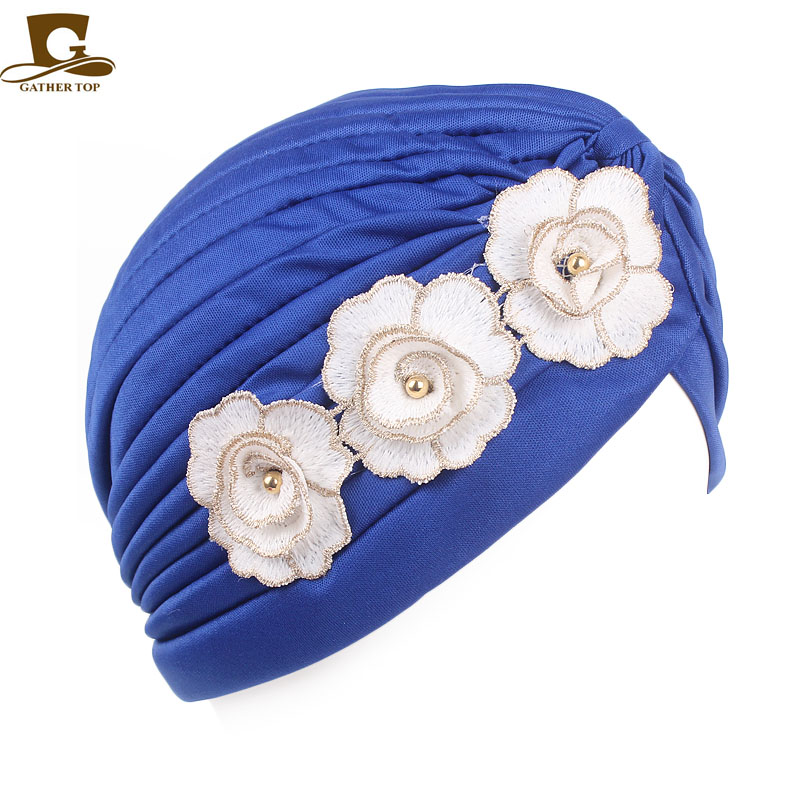 Islamic Clothing Novelty & Special Use Modest Women Muslim Islamic Elastic Turban Head Scarf Double Large Flower Beanie Hat Headwear Fashion Ruffle Turban Cap In Pain