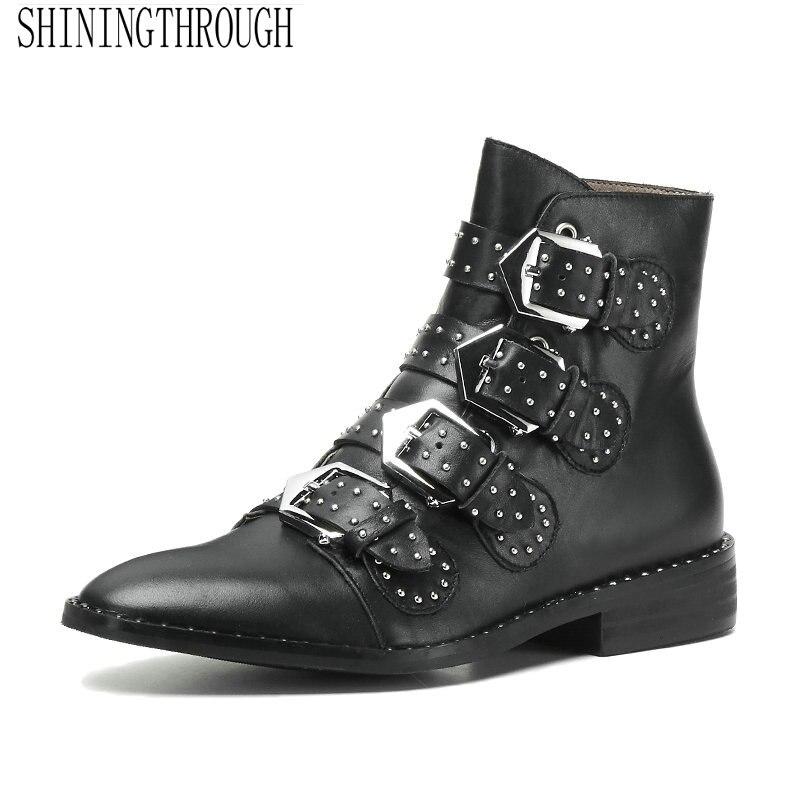 Véritable cuir femmes mode boucle cheville bottes Sexy bout rond bas talon femmes chaussures printemps automne fête dames chaussures