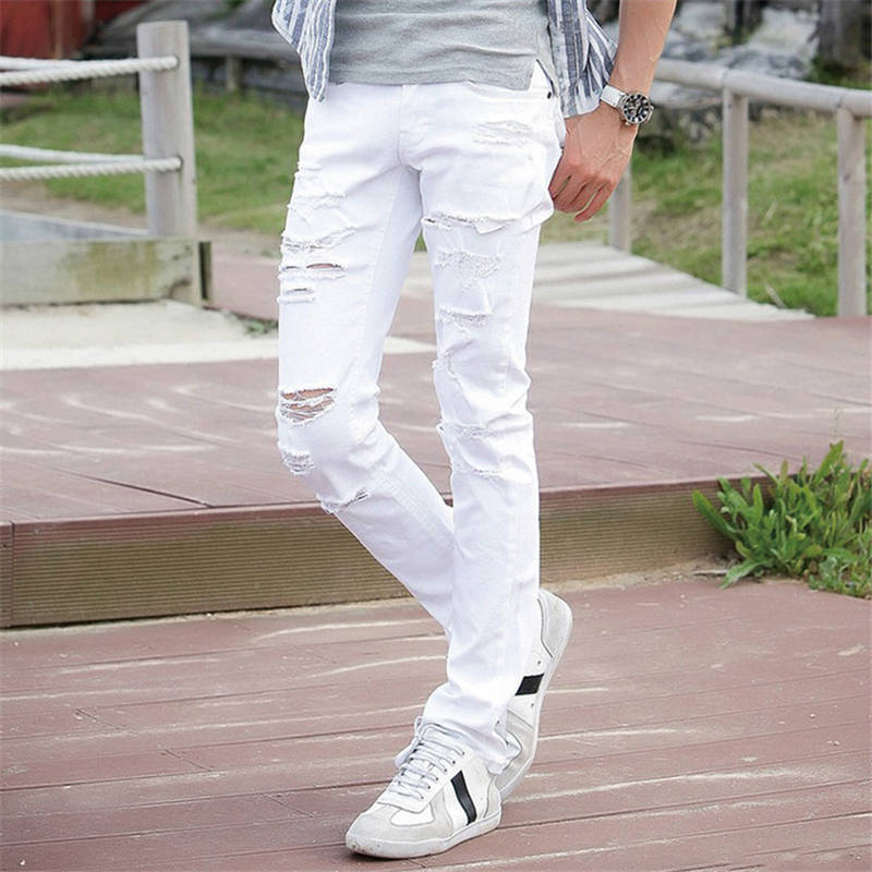 New White Ripped Jeans Men With Holes Super Skinny Famous Designer Brand Slim Fit Destroyed Torn Jean Pants For Male AY991 Z20 2016 italy famous men s jeans new brand men slim fit jeans trousers wear white ripped skinny ripped denim jeans for men