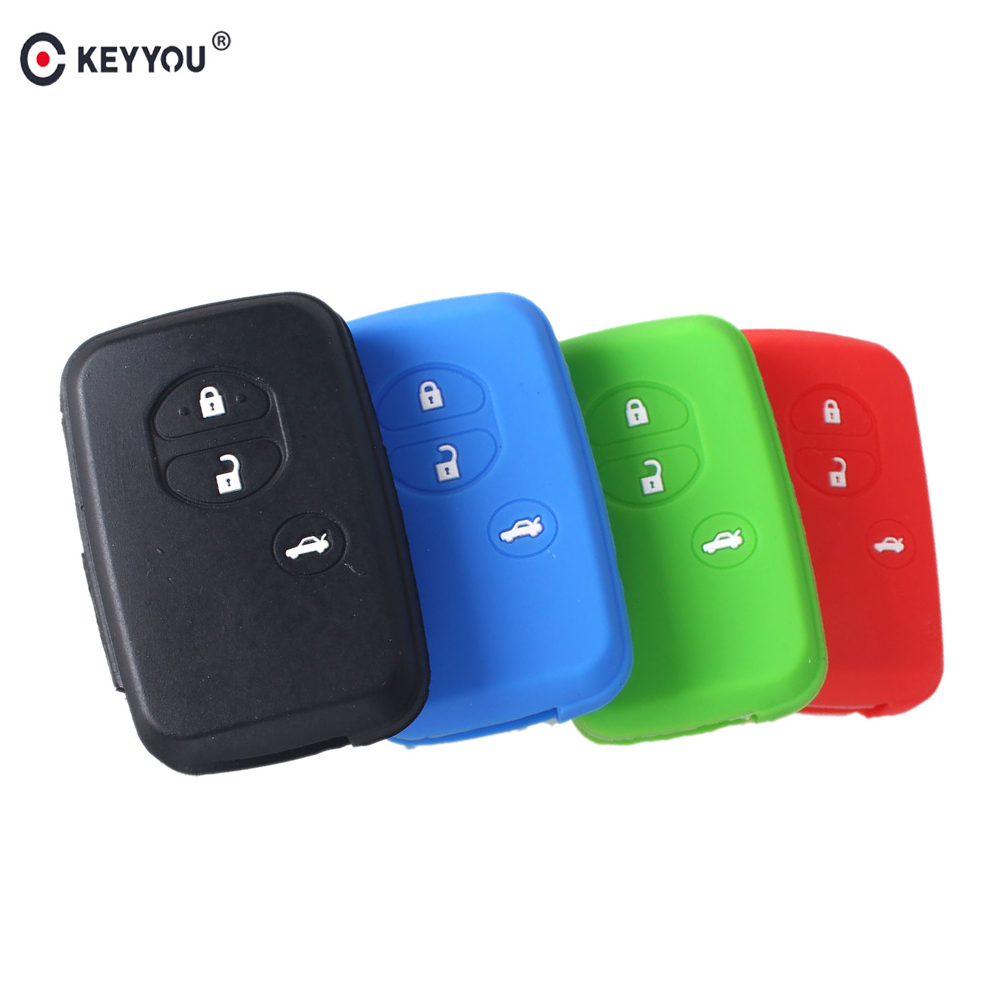 Prado Red Toyota Silicone Protecting Remote Key Case Cover 4 Buttons Fob Holder for Land Cruiser Prius Avalon Camry 4runner Highlander Crown Venza