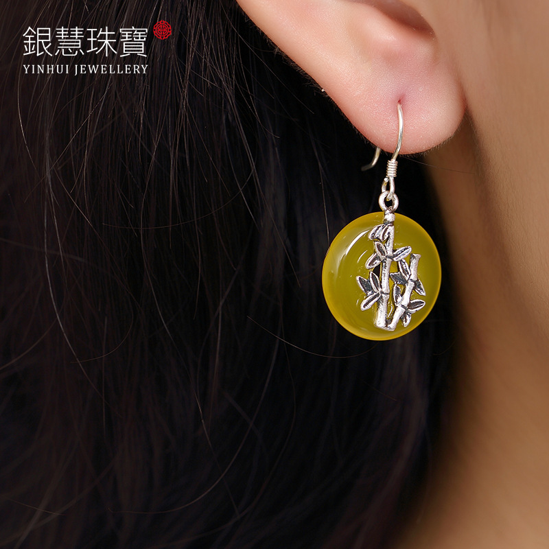 Lucky Bamboo Pulp Topaz Peace Buckle Lady National Wind Restoring Ancient Ways Of High-grade Stud Earrings Earrings