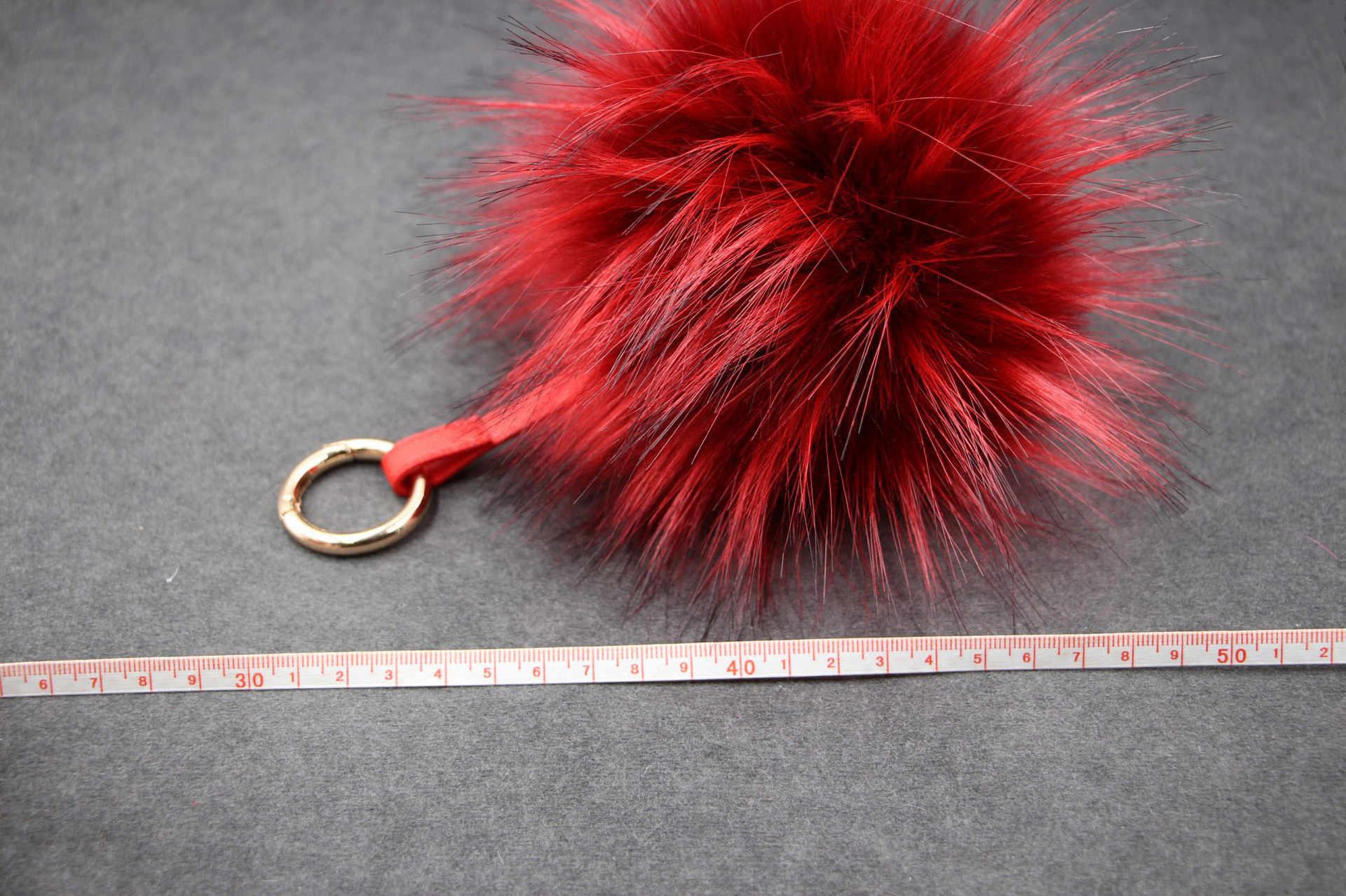 Moda Cores 12 15 centímetros fluffy Pompons Pele de Pele De Raposa Bola Chaveiro Chaveiro Chaveiro Pompom Pom Pom Chaveiro de Charme bolsa Pingente