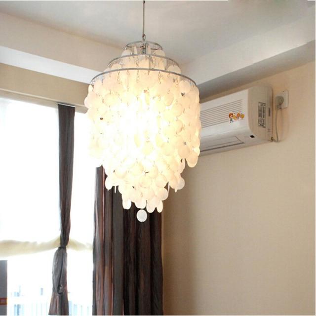 Moderne Nordic Kronleuchter Weiss Shell Kronleuchter Beleuchtung