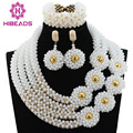Splendid White Gold Bold Statement Necklace Set Handmade Crystal Beaded Women Bridal Jewelry Set 2017 Free Shipping WD086
