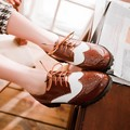 Fashion preppy style brown oxford vintage women shoes brogue loafer lace up ladies shoes