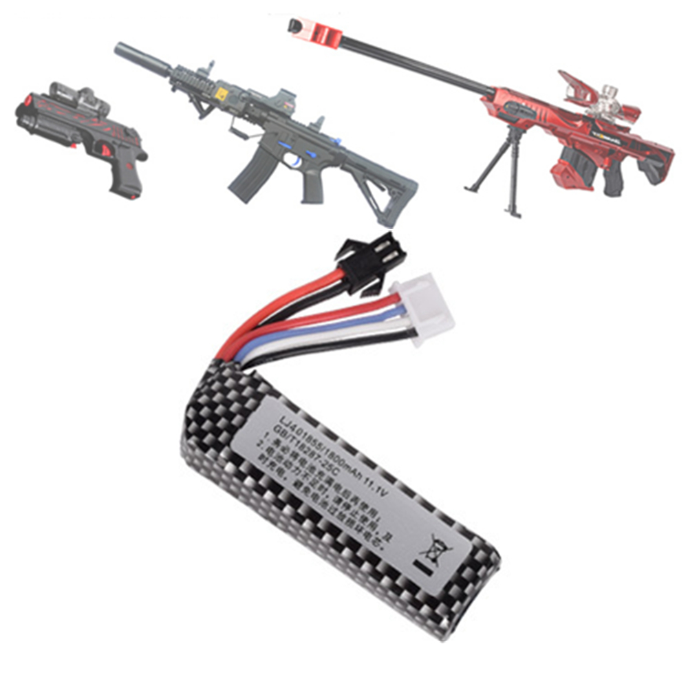 Air Gun Airsoft Lipo Battery 11.1V 1800mah Lipo Battery Electric Water Pistol Lithium Battery Toy Gun Accessories
