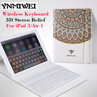 For IPad Air Slim Tablet Leather Case Cover Wireless KeyBoard 3D Relief Painting Case For IPad