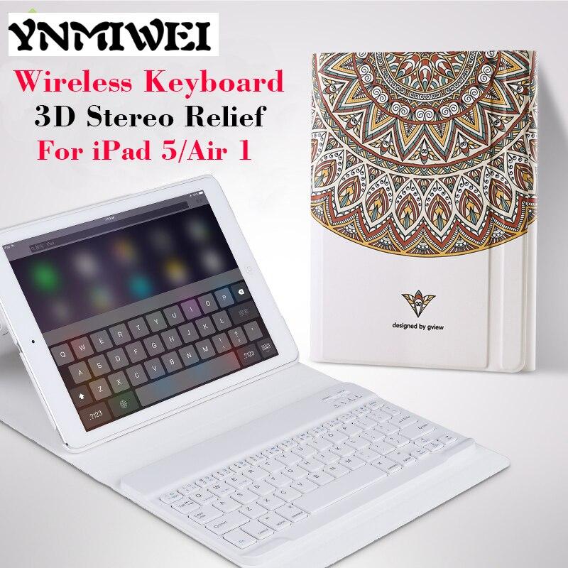 Prix pour Pour iPad Air Slim Tablet Housse En Cuir + Clavier Sans Fil 3D Relief Peinture cas pour iPad 5 air 1 De Protection Stand cas