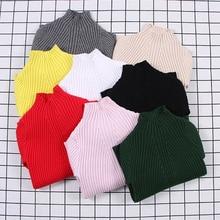 Свитер в рубчик для маленьких девочек; коллекция года; свитера для девочек; однотонные свитера ярких цветов для мальчиков; Новая Осенняя трикотажная одежда для детей; пуловер для девочек