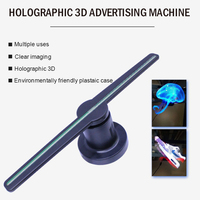 3D Hologram Projector Fan Holographic Party Decoration 3D Hologram Advertising Fan with 16G TF LED Funny 42cm RGB1615 Lamp Beads