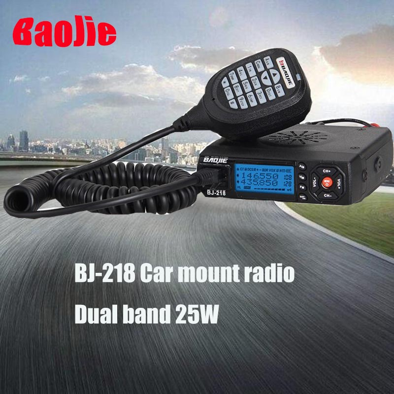 Baojie BJ-218 Mini Mobile Dual Band Two Way Radio Car Walkie Talkie Transceiver 25w Baojie BJ-218 Car Mobile Radio Transceiver