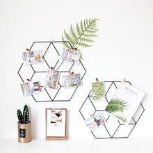 New DIY Grid Photo Wall,Multifunction Wall Mounted Ins Mesh Display Panel,Wall Art Display Organizer,Memo Board Hexagonal цена и фото