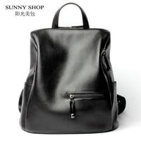 SUNNY SHOP Brand Designer Female Backpack Women High Quality Genuine Leather Backpack American Fashion BagPack