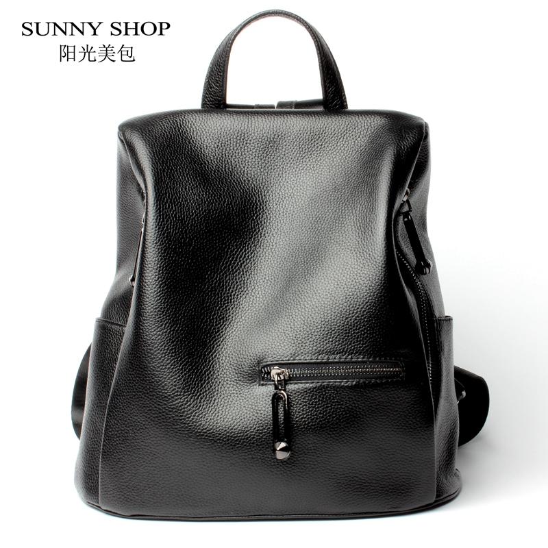 Sunny boutique marque Designer Anti vol sac à dos fermeture à glissière à l'arrière 100% en cuir véritable femmes sac à dos mode américaine sac à dos-in Sacs à dos from Baggages et sacs    1