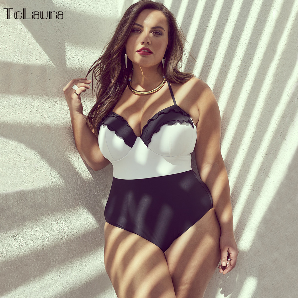 2018 Sexy Plus Size Swimwear Women One Piece Swimsuit Push Up Monokini Large Size Bathing Suit Summer Beachwear Ruffle Swim Suit andzhelika one piece swimsuit plus size swimwear women solid patchwork swimwear sexy halter summer bathing suit monokini swim