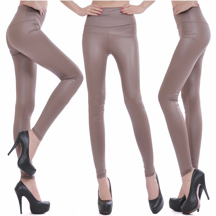 2017 New Women Sexy Leggings Faux Leather Stretch Legging High Waist Leggings Juniors Pants 4 size 21 Colors 19