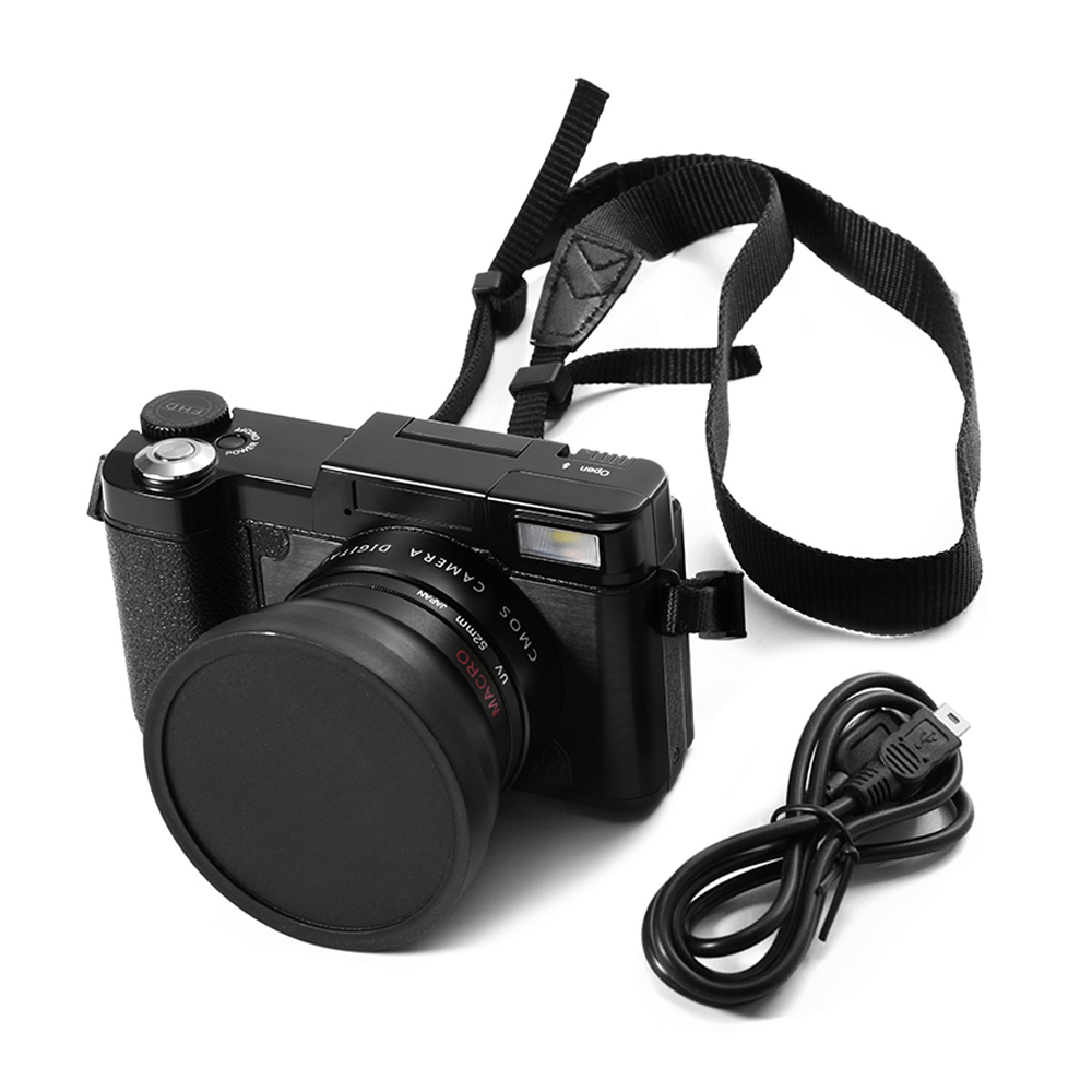 Professional 24MP HD Half-DSLR Digital Camera 4x Zoom w/ Macro Wide Angle Lens 1080P Digital Video Camcorder DVR Recorder