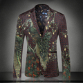 New arrival 2016 chinese style fashion green peacock print velvet blazer men blazer designs costume homme men's clothing /XF40-7
