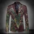 Nueva llegada 2016 de moda de estilo chino verde del pavo real impresión de terciopelo chaqueta de los hombres blazer diseños traje homme ropa hombre/XF40-7