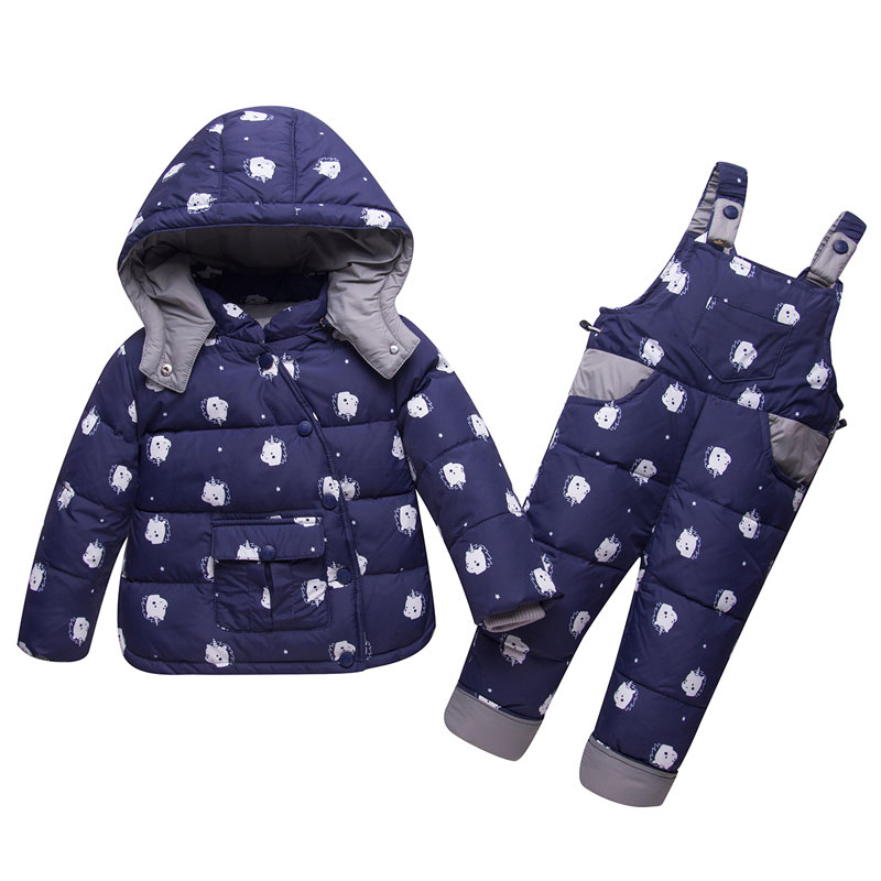 HYLKIDHUOSE 2018 Winter Child Clothing Sets Baby Girl Boy Clothes Suits Down Coat Bib Pants Thicken Windproof Kid Clothes Suits hylkidhuose 2018 baby girls boys winter clothes suits children clothes suits white duck down thicken coats bib pants kids suits
