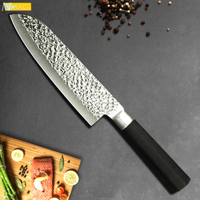 Us 9 79 51 Off Kitchen Chef Knife Santoku Meat Cleaver Fruit Vegetable Knives 7 Inch X50crmov15 Stainless Steel Japanese Cutter Rubber Handle In