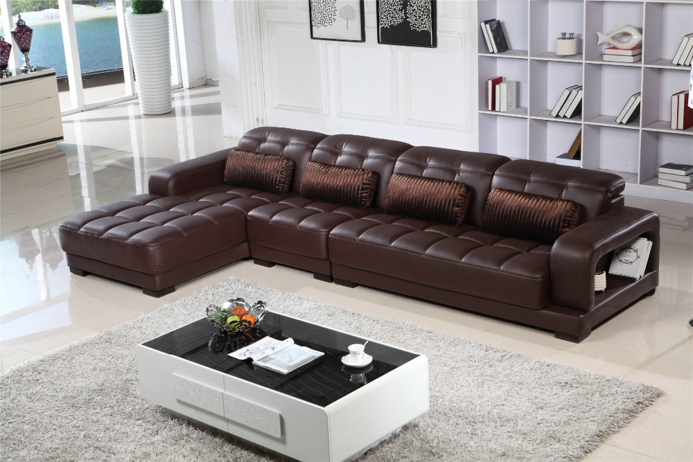 L Shaped Deep Brown Leather couch Leather Leisure Sofa Set